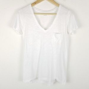 Madewell V Neck Tee Top Chest Pocket White 1415